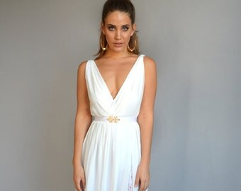 chiffon wedding dress, lace slit wedding dress, V neck wedding dress, open back wedding dress,chiffon wedding dress
