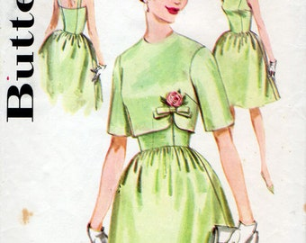 1960s Full Skirted Cocktail Dress & Jacket Pattern Butterick 2499 Vintage Sewing Pattern Square Neck Evening Dress Cropped Bolero Bust 34