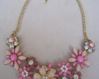 Sparkling Pink Flower Garden with Tantalizing Clear Crystals and Opal Like Stones Bib Necklace