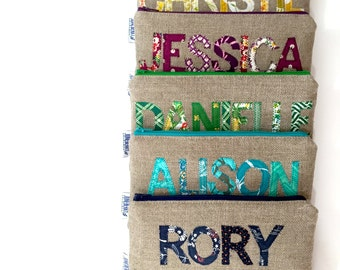 Personalized Bridesmaid Gift - Linen Burlap Clutch