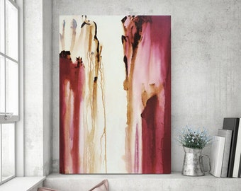 Minimalist Painting, Elegant Painting, Abstract Painting, Original Painting on Canvas, Dusty Rose Plum,Modern Art, 36x24 Heather Day #2