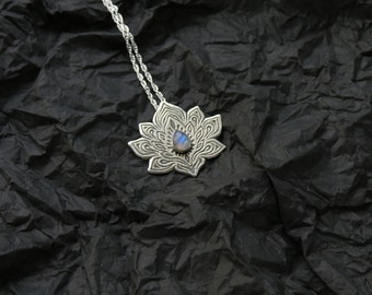 Lotus Necklace - Water Lily Necklace - Silver Lotus Necklace - Rainbow Moonstone Necklace - Heart Chakra Necklace - Moonstone necklace