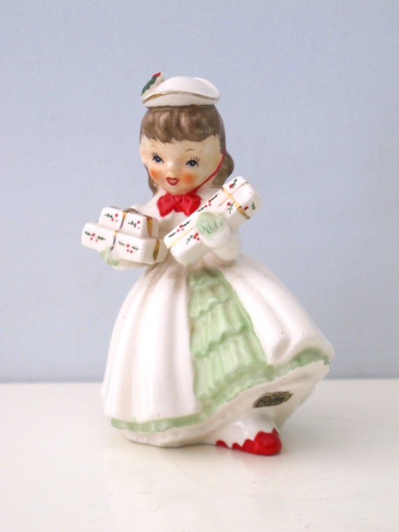 Pretty Vintage Napco Figurine Christmas Shopper With Holiday Presents