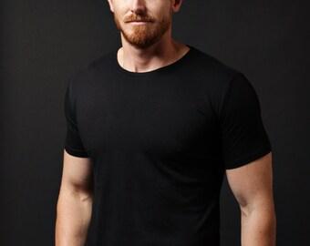 Black t-shirt - short black sleeve t-shirt. soft mens crew neck t-shirt black. white screen print graphic - mens clothing apparel