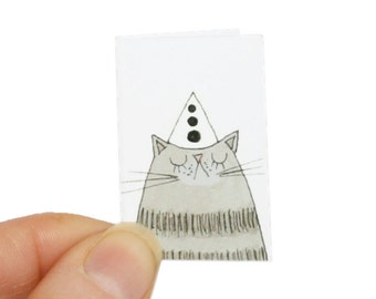 Cat Birthday Card, Tiny Cat Card and Miniature Envelope, Grey Tabby Cat Birthday Card for the Cat or Gift, Funny Card for Cat Lover Friend