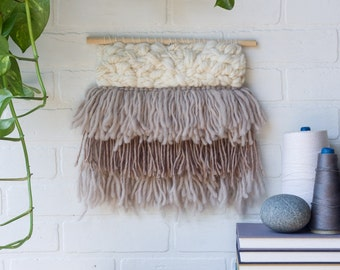 Woven Wall Hanging   Medium Neutral Weaving in Beige and White with Fringe
