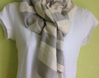 Gray & White Cotton Scarf- Grey and white stripe cotton scarf - handwoven Ethiopian scarf-cotton scarves shawl wrap for women
