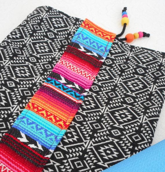 Yoga Mat Bag Mexican Woven Fabrics ONYX INCA PATTERN