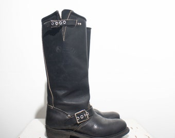 5.5 | Women's Tall Steel Toe Black Engineer Biker Boots
