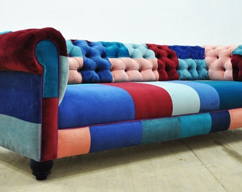 Chesterfield patchwork sofa - blue sky