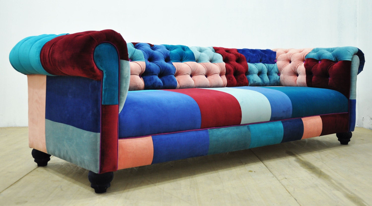 Chesterfield patchwork sofa blue sky for Sofa patchwork