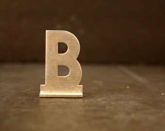 "Vintage Metal Sign Letter ""B"" with Base, 1-13/16 inches tall (c.1950s) - Industrial Decor, Art Supply, Typography"