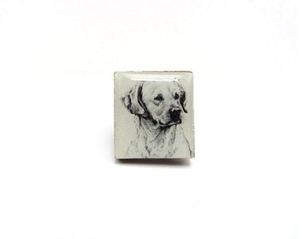 Labrador Retriever Drawing Tile brooch.