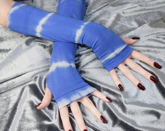 Blue tie dyed Arm Warmers Fingerless gloves belly dance gothic goth fusion dancing burlesque boho bohemian emo tribe tribal yoga gypsy white
