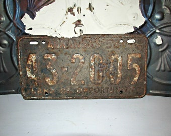 Rusty crusty Arkansas License Plate AR 1958 43 2005 Uncleaned Land of Opportunity