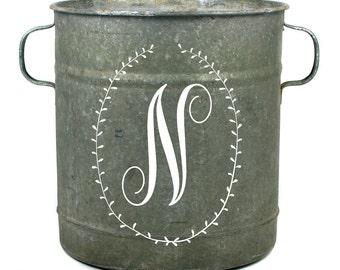 Laurel Monogram Vintage Zinc Bucket, Decorative Wine Ice Bucket