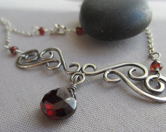 Garnet Necklace/ Silver Necklace with Garnet/ Oxidized Silver Necklace/ Filigree Silver Necklace/ Garnet/ January Birthstone