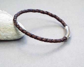Mens Leather Bracelet, Braided Bracelet, Boyfriend Gift, Men's Leather Jewelry, Jewelry for Him
