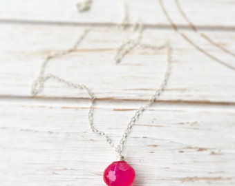Pink Necklace Hot Pink Necklace Pink Gemstone Necklace Pink Jewelry Minimalist Necklace Bride Bridal Party Flower Girl Gifts for Her Wedding