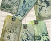 Mermaid Tags printable paper craft add text shabby art hobby crafting scrapbooking instant download digital collage sheet - VDTAVI1297