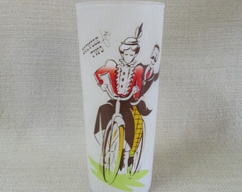 Vintage  Bicycle Built for Two Frosted Glass
