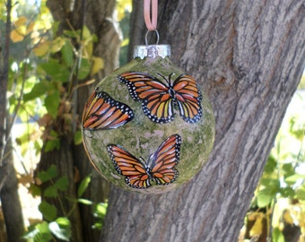 Butterfly Ornament, Hand Painted Christmas Ornament, Monarch Ornament no269
