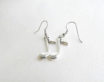 Music Note Dangle Earrings, music earrings, Note earrings