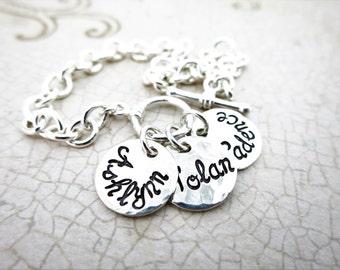 Family Charm Bracelet | Jewelry for Mom | Jewelry for Grandma | Sterling Silver Charm Bracelet | Kids' Names | Grandkids Names | Custom