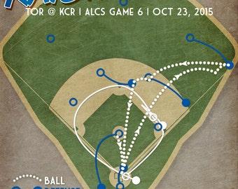 "Kansas City Royals Lorenzo Cain baseball print ""Rasin' Cain"" 2015 ALCS win poster"