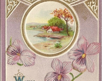"Cottage Scene by pond Fall Foliage Gold Gilded Purple Violets ""With Love"" Vintage Postcard"