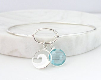 Wave Bracelet 2 - Surfer Bracelet - Nautical Bracelet - Silver Bracelet - Charm Bracelet - Beach Bracelet