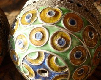 Enamel Moroccan large tarnished   ornate barrel focal bead