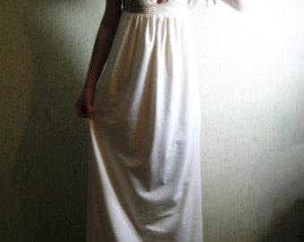 je t'aime - organic cotton natural beige bohemian chic hippie wedding bridal bridesmaid floral lace maxi dress xs