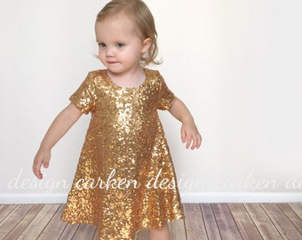 sequin flowergirl dress party dress formal toddler dress birthday dress wedding outfit sparkle a-line birthday girl baby toddler girl gold