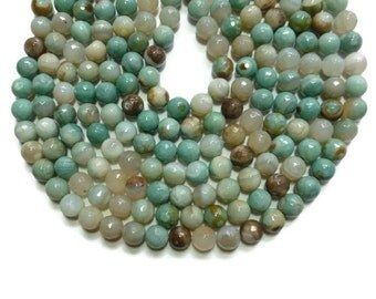 Pale Turquoise Striped Agate - Faceted 10mm Round Bead - Full Strand - 36 beads - Banded - Mixed Color - Aqua - Sea Foam