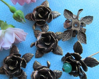 6 Cabbage Rose And Leaf Metal Finding