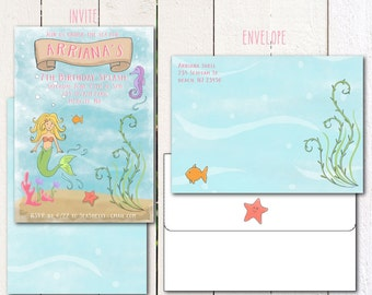 Mermaid/ Under the Sea printable invitation and envelope
