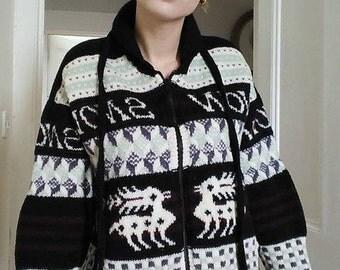 English designer handknit wool cardigan by Artwork
