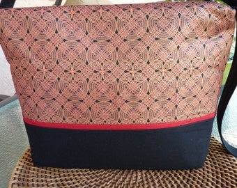 Handcrafted Celtic Zipper Purse/Handbag/Shoulder Bag with inside pockets in Red and Black
