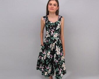 Vintage Floral Dress, 80s Tropical Dress, Full Skirt, Cotton Dress, Hawaiian Sun Dress Δ size: md