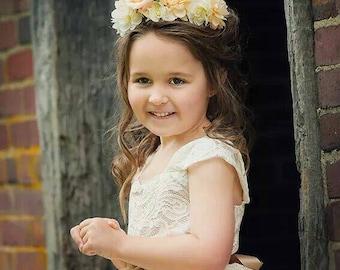 Flower girl dress, ivory lace flower girl tutu dress