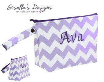 Lavender chevron Diaper Clutch, Personalized Compact diaper bag, custom-made diaper clutch, customized baby shower gift.