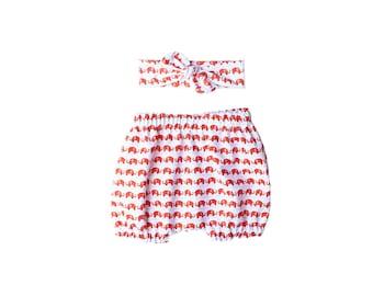 Elephant bloomer and headband - Bubble shorts - Newborn girl knot headband - Top knot toddler headband - Elephant baby gift set - size 0-4T