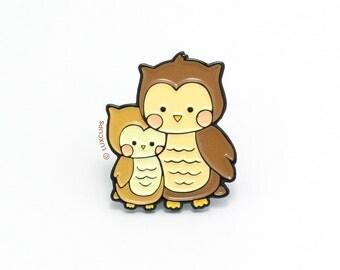 Owl Enamel Pin - Soft Enamel Pin Cloisonné Mommy Owl Lapel Pin Baby Owl Pin Badge Daddy Owl Kawaii Pin Barn Owl Brooch