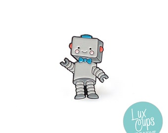 Robot Enamel Pin - Soft Enamel Pin Cloisonné Robot Lapel Pin Retro Robot Pin Badge Robot Kawaii Pin Robot Brooch