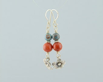 Handmade sterling silver 925 earrings with semi precious stones turquoise coral