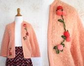 Vintage 50s Cardigan, 1950s Pink Sweater, Embroidered Flower, Chunky, Fuzzy, Pom Pom