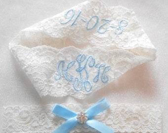 MONOGRAMMED Wedding Garter MONOGRAMMED Bridal Garter Floral Stretch Lace Bridal Garter Set Or Single Garter