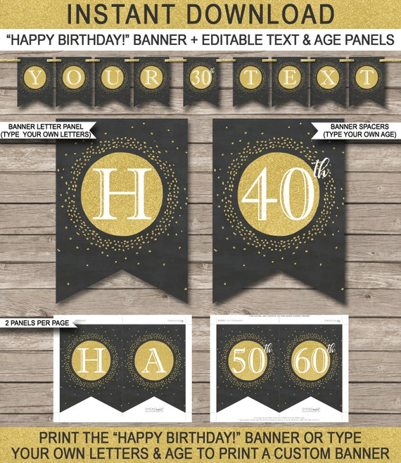 happy birthday banner printable 30th 40th 50th 60th etc. Black Bedroom Furniture Sets. Home Design Ideas