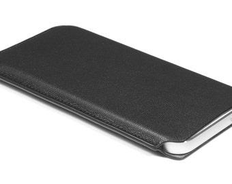 iPhone SE Leather Sleeve Slim Fit 4 inch - Black Genuine Nappa Leather
